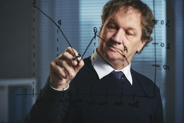 Verkoopdirecteur die verkoopgrafiek op het glasbord analyseert