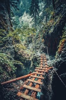 Verlaten brug in het tatra-gebergte, slowakije.