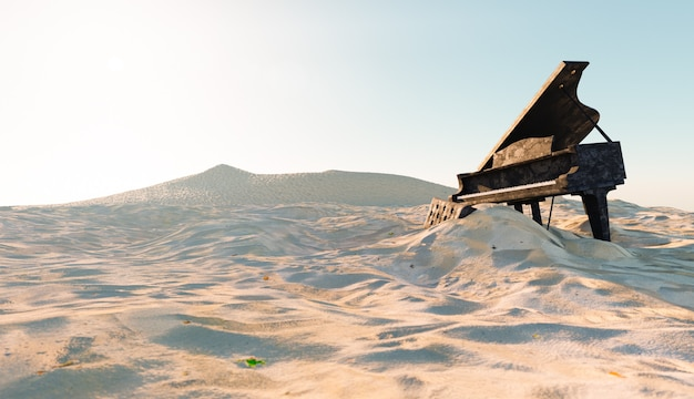 Verlaten en beschadigde piano op het strand met zand dat het bedekt. 3d-afbeelding
