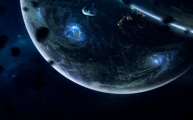 Verlaten sovjet ruimteschip sojoez. science fiction ruimtebehang, ongelooflijk mooie planeten, sterrenstelsels, donkere en koude schoonheid van een eindeloos universum.