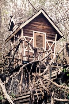 Verlaten spookhuis in het magische bos