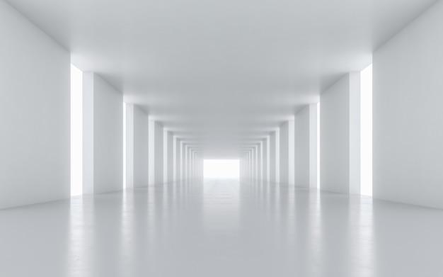 Verlicht corridor interieur. 3d-rendering.
