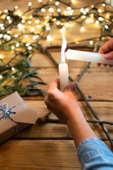 Verlicht kaarsen traditionele hanukkah joodse concept