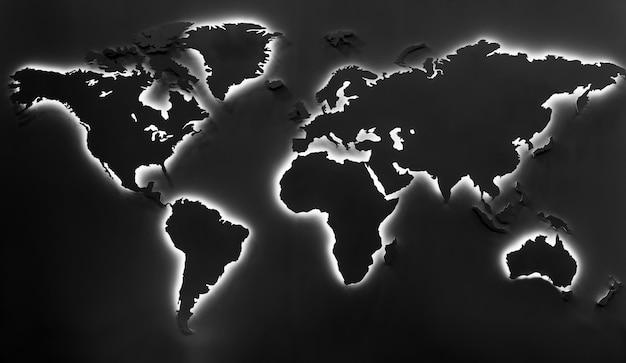 Verlichte aardekaart op zwarte achtergrond