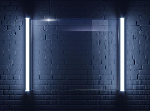 Verlichte glazen plaat op bakstenen muur