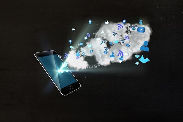 Verlichte mobiele met pictogrammen in blauwe tinten
