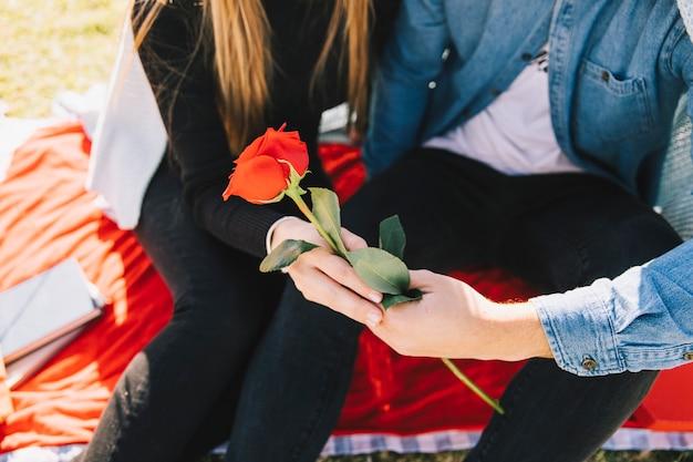 Verliefd stel met gepassioneerde rode roos