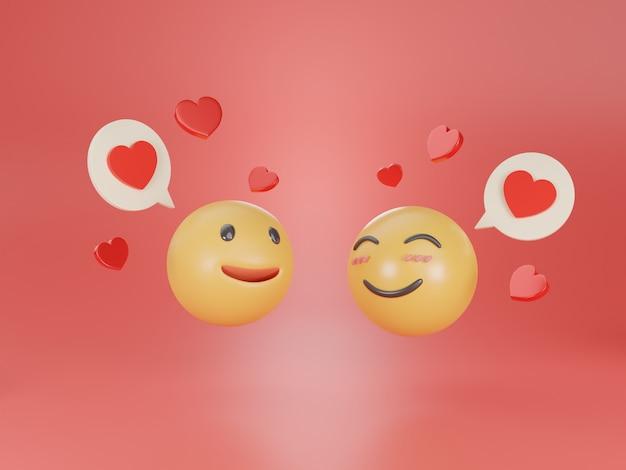 Verliefd worden emoji 3d render.