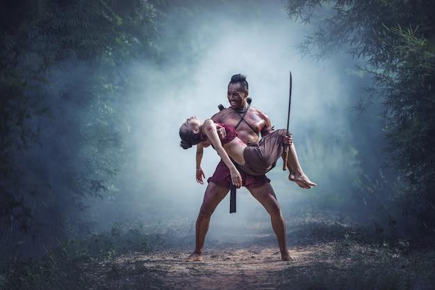Verlies op het slagveld, traditionele krijger in thailand