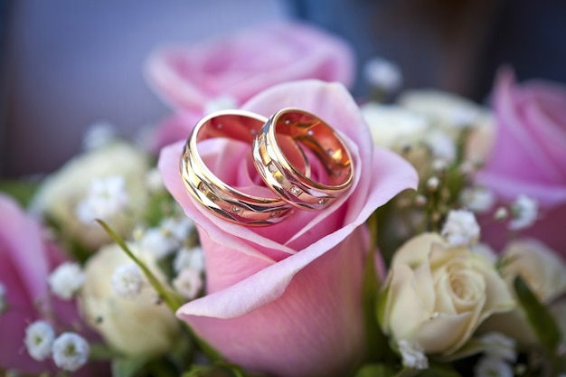 Verlovingsringen op roze roos