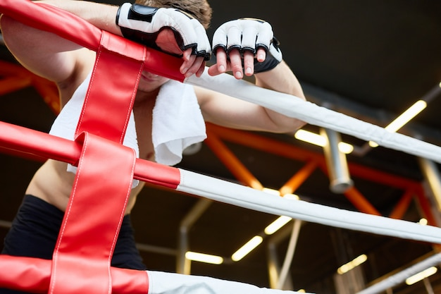 Vermoeide bokser die tegen ringtouwen rusten