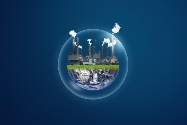Verontreiniging en opwarming van de aarde. elektriciteitscentrale op transparante zeepbel