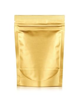 Verpakking gouden aluminiumfolie rits zakje geïsoleerd op wit