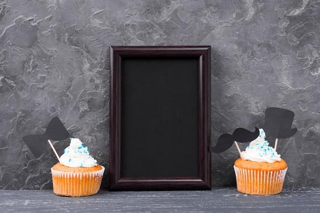 Verrassing voor vaderdag met kopie ruimte zwart frame