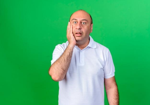 Verrast casual volwassen man hand op wang zetten geïsoleerd op groene muur