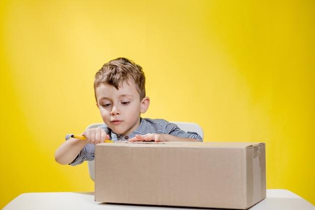 Verrast jongen kijkt een doos openend en hijgend van verbazing