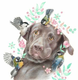 Verrast labrador en vogeltjes. realistische tekening van een hond en mezen geïsoleerd op een witte achtergrond. schets kleurpotloden.