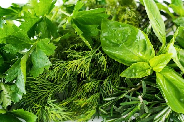 Vers boeket van basilicum, dille, peterselie, basilicumbladeren op witte lichte achtergrond. selectieve focus