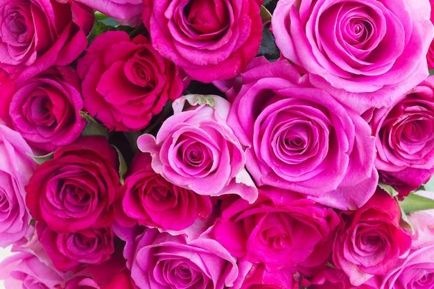 Vers boeket van roze en magenta rozen close-up achtergrond