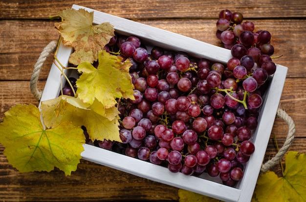 Vers geoogste druiven in een witte doos op rustiek hout