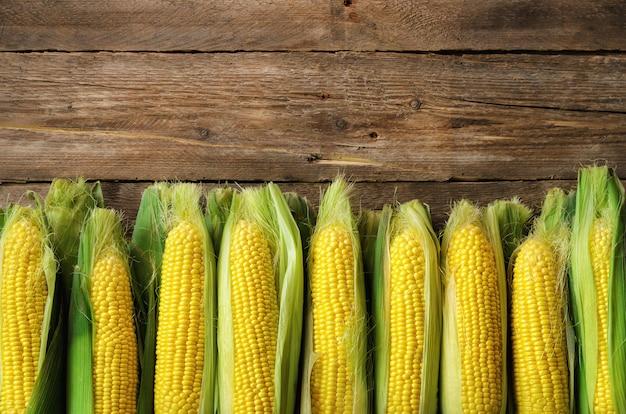 Vers graan op maïskolven op uitstekende rustieke houten
