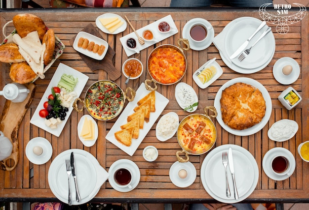 Vers ontbijt tafel bovenaanzicht