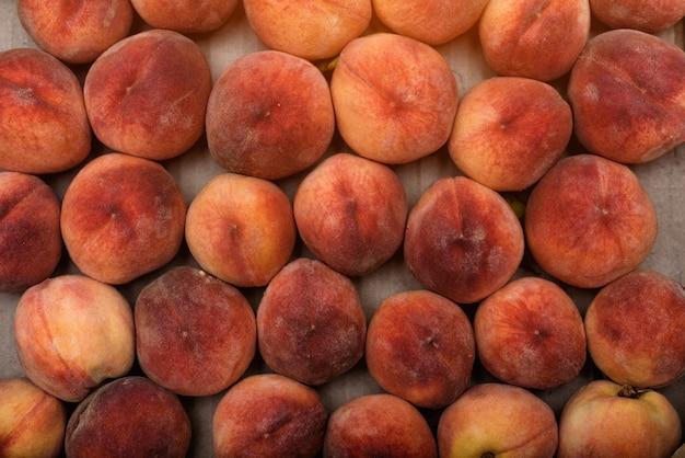 Vers rijp perzikenclose-up. wallpaper,. fruitseizoen