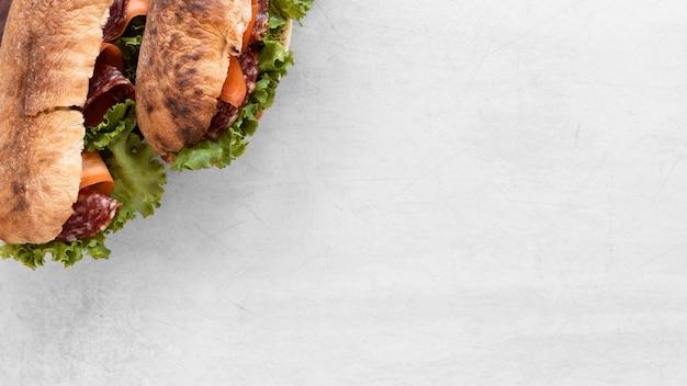 Vers sandwiches arrangement met kopie ruimte