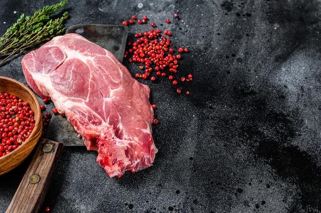 Vers varkensvlees, marmeren steak.