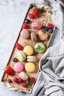 Verscheidenheid aan franse dessertmakarons