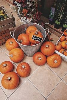 Verscheidenheid aan pompoenen in manden te koop met prijskaartje tijdens thanksgiving en halloween