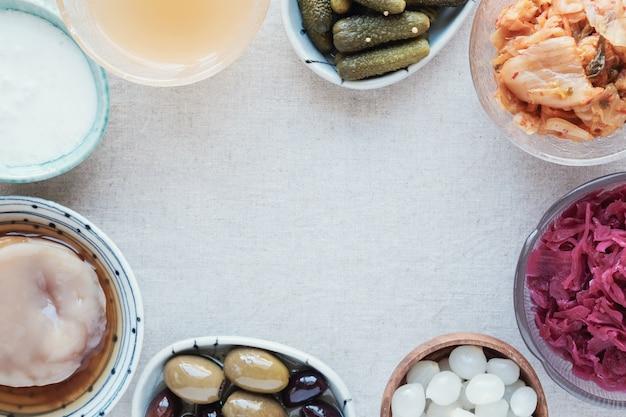 Verscheidenheid van gefermenteerde probiotische voedingsmiddelen voor de gezondheid van de darm