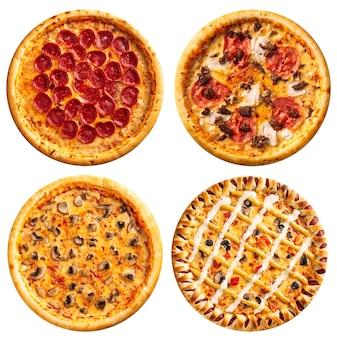 Verscheidenheid van geïsoleerde pizza's menu collage ontwerp
