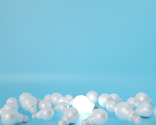 Verschil gloeilamp op blauw. minimaal creatief idee concept.