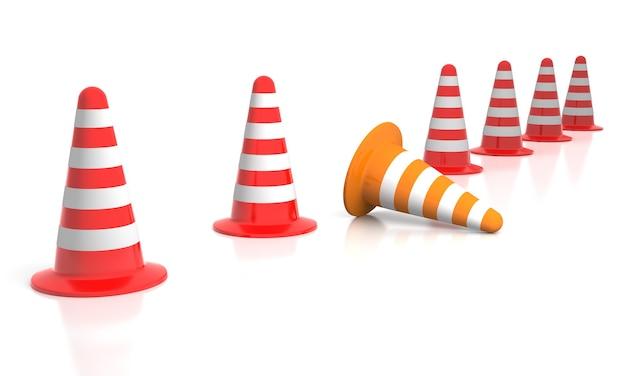 Verschillend. 3d illustratie van verkeerskegel omvergeworpen op witte achtergrond