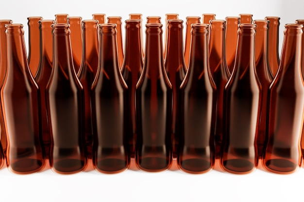 Verschillende bruine glazen bierflessen staan in even rijen op een witte geïsoleerde achtergrond