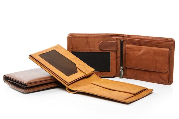 Verschillende bruine portefeuilles