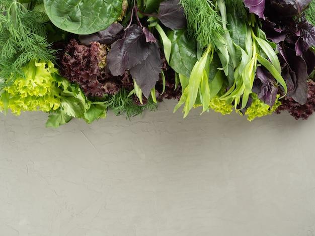 Verschillende eetbare verse groenten, kruiden bezetten de helft van het frame op een grijze achtergrond, kopie ruimte