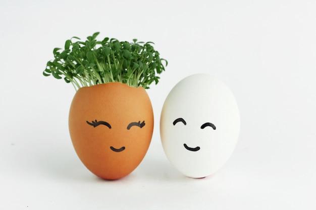 Verschillende eieren, een met zaailingen erin met gezichten op de schaal geschilderd.