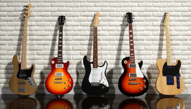 Verschillende elektrische gitaren op een bakstenen muur achtergrond, 3d illustratie