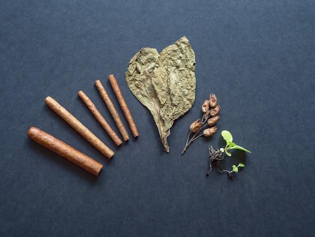 Verschillende fasen in de productie van sigaren. afgewerkte sigaren, tabaksblad, tabakspruiten en zaden worden op een zwarte tafel neergelegd.