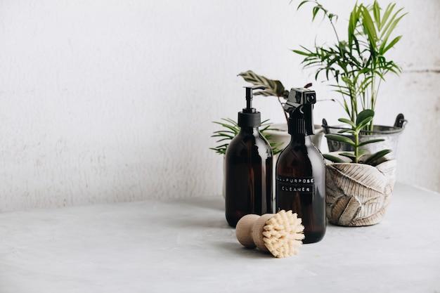 Verschillende items en ingrediënten voor eco-huis schoonmaken en kamerplanten