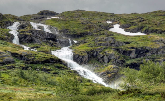Verschillende kleuren van een noors landschap
