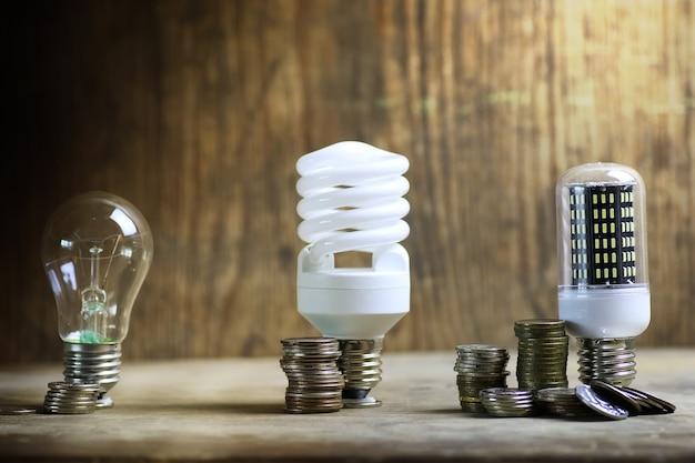 Verschillende lamp op muntbesparingsconcept