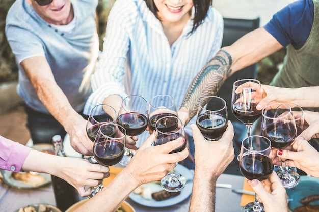 Verschillende leeftijd van mensen die met rode wijn bij barbecuediner toejuichen openlucht