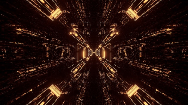 Verschillende lichten die driehoekige patronen vormen en naar achteren stromen