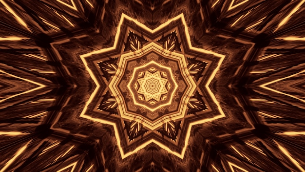 Verschillende lichten vormen cirkelvormige patronen achter een zwarte achtergrond