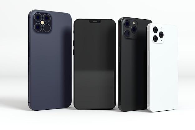 Verschillende maten en gekleurde smartphones