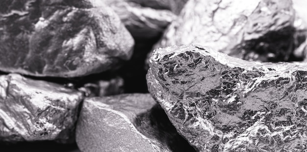 Verschillende palladiumstenen, een chemisch element dat bij kamertemperatuur samentrekt in de vaste toestand. metaal gebruikt in de industrie. spotfocus