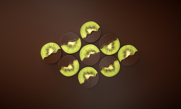 Verschillende plakjes kiwi gedompeld in vloeibare chocolade